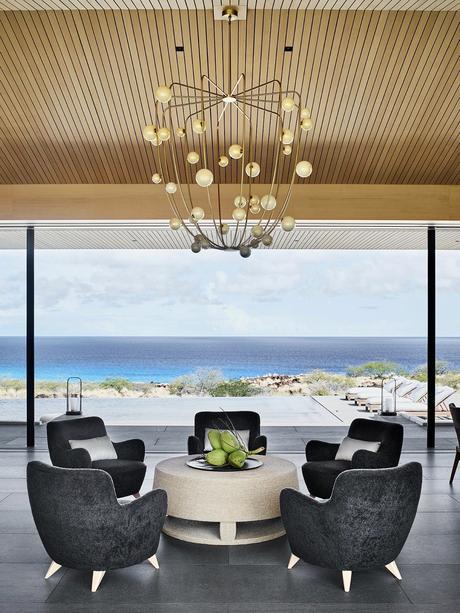 Kua Bay villa salon vue sur océan Pacifique