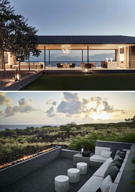 maison toit terrasse Hawaï pierre de lave