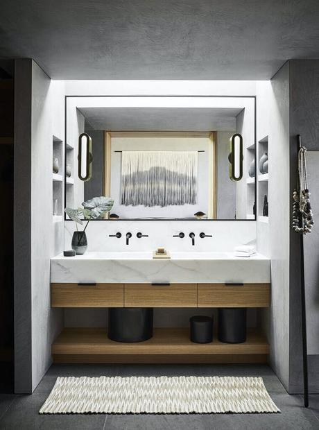 salle de bain minimaliste marbre blanc basalte