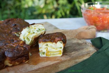 Flan de courgettes au chèvre, fondue de tomates au basilic