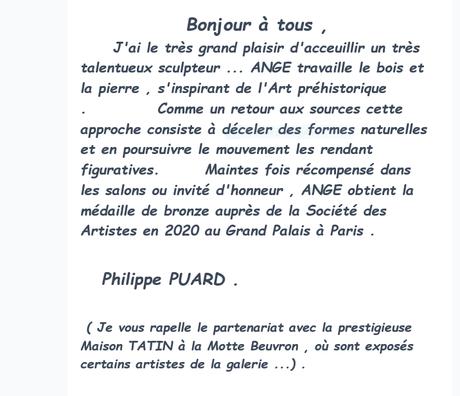 Galerie « l 'Art en tête » en Sologne exposition  » ANGE » La Ferté Imbault