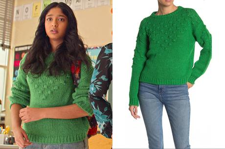 NEVER HAVE I EVER : Devi's greeen sweater in S2E06