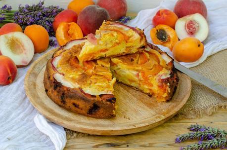 Gâteau fondant pêches abricots