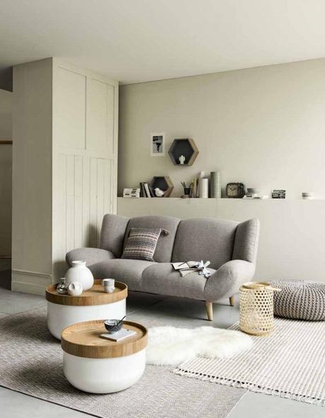 canapé gris table basse ronde tapis blanc deco blog