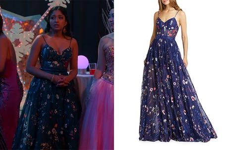 NEVER HAVE I EVER : Devi's floral sleeveless gown in S2E10