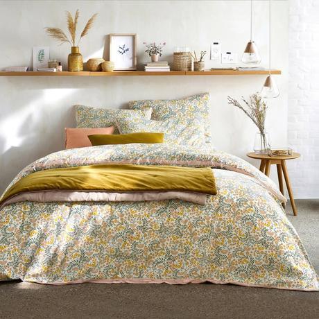chambre déco nature chic bohème mimosa drap jaune rose pastel