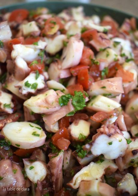 Salade de poulpe à la sauce vierge
