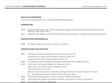 Galerie du CROUS Paris  9/18 Septembre 2021. exposition Charlotte Heninger