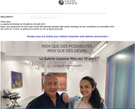 Galerie Lazarew  prochainement : Les 10 ans de la galerie.
