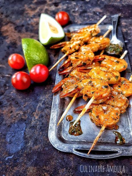Brochettes de crevettes à la charmoula