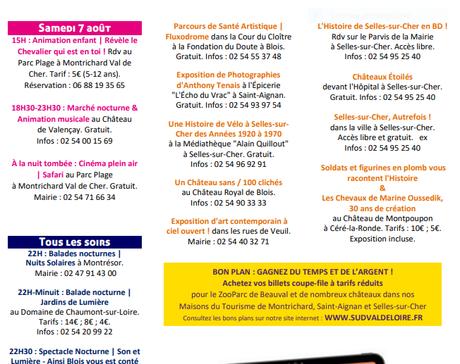 Centre Val de Loire-Sud -animations du 31 Juillet au 7 Août 2021