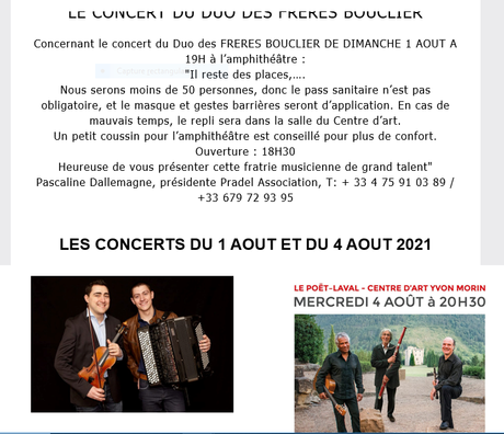Centre d'Art Yvon MORIN (Drôme Provençale)  des concerts en Août et une exposition…