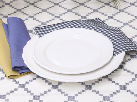 nappe coton petit carreaux losange vichy revisité retro blanche bleu