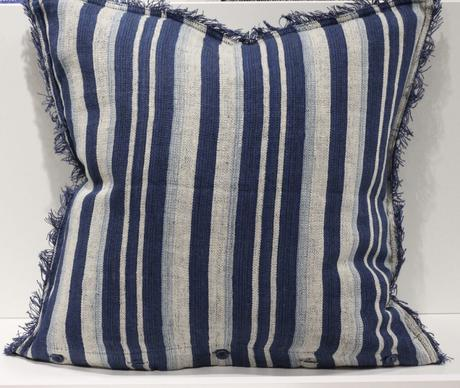 table estivale coussin Ralph Lauren rayures bleu blanc franges