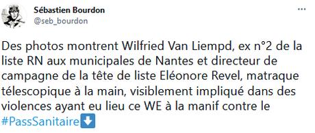 Le Numéro 2 du RN à Nantes tabasse un manifestant contre le #PassSanitaire à 7 contre un… et armés.