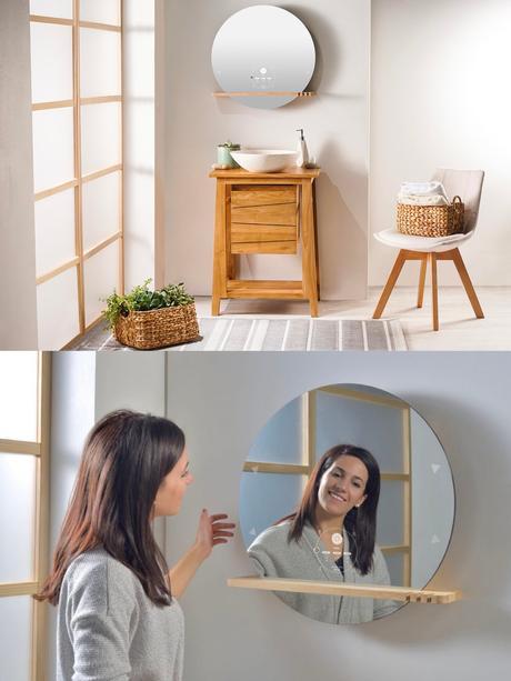miroir intelligent rectangulaire rond bois design avis ekko Miliboo