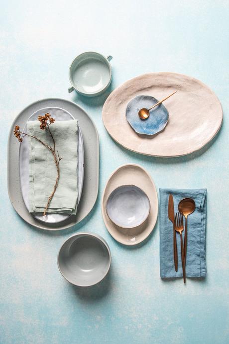déco pastel rose gris bleu tendance scandinave couvert cuivré blog deco