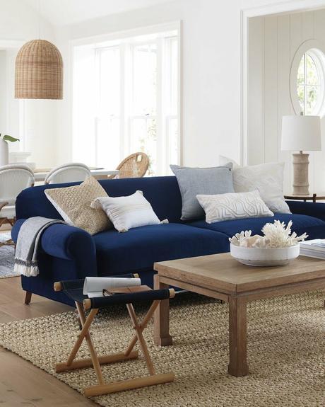 décoration intérieure bleu marine bords de mer tapis suspension fibres naturelles