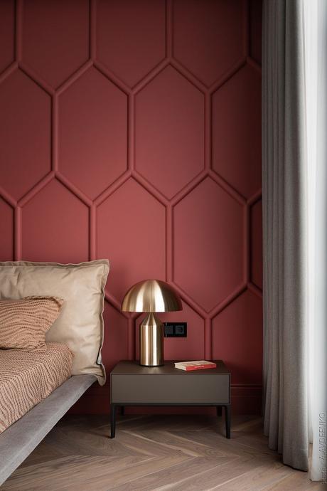 chambre design élégante rouge terracotta lampe laiton