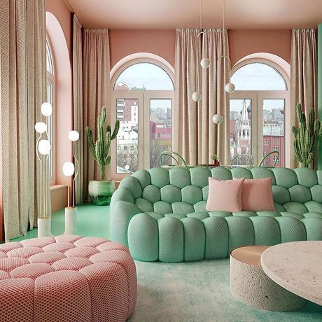 déco verte et rose salon design art graphique canapé confortable pouf mint couleur flashy - blog déco - clem around the corner