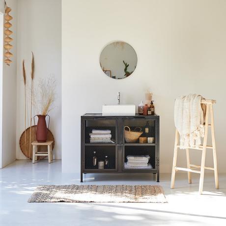 salle bain campagne vintage beige terracotta meuble grillage
