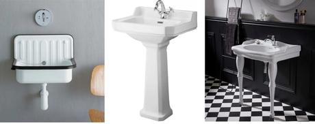 vasque sur pied style rétro vintage céramique