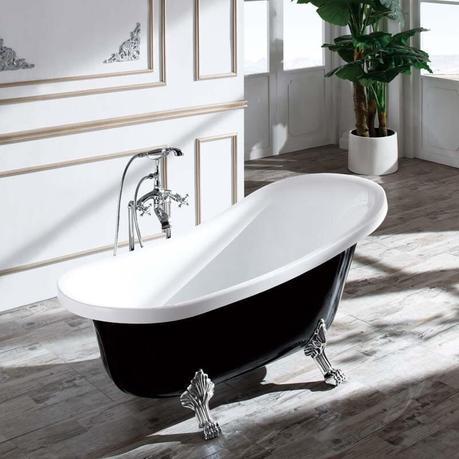 baignoire ilot ovale noire meuble salle de bains rétro