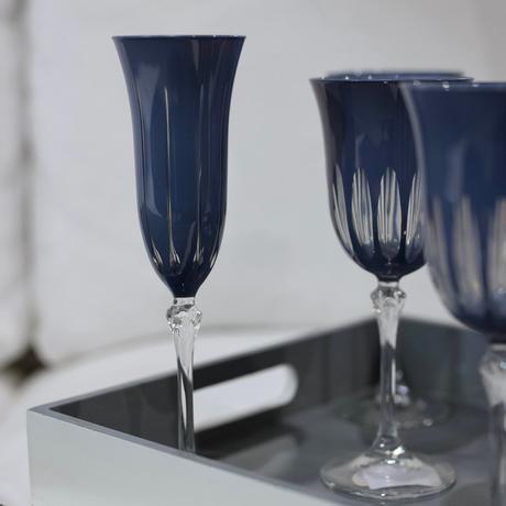 flûte à champagne pied style Art Déco bleu nuit