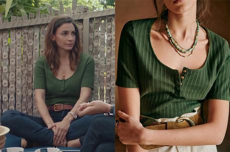 DEMAIN NOUS APPARTIENT : le t-shirt vert à col boutonné de Louise dans l'épisode 1007