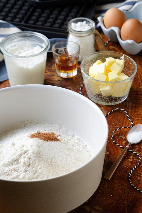 pâte gaufres liégeoises traditionnelles avec sucre blond cannelle
