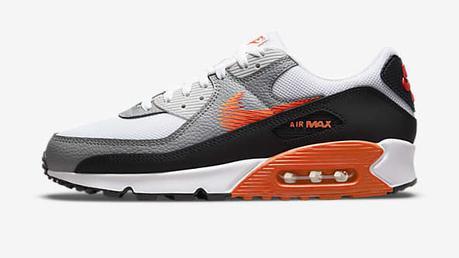 Basket Nike Air max 90 blanche, grise et orange pour homme