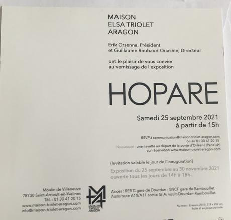 Maison Elsa Triolet Aragon- exposition » Hopare  » à partir du 25 Septembre 2021
