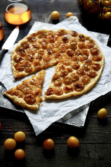 tarte fine , mirabelles, tarte d'automne