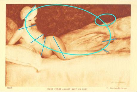 Pierre Carrier-Belleuse 1910 ca Jeune femme jaunat avec un chat schema