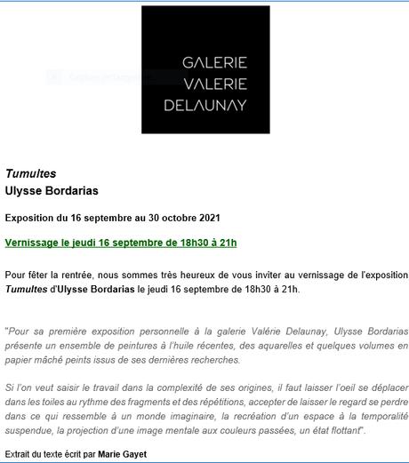 Galerie Valérie Delaunay  » Tumultes  » Ulysse Bordarias à partir du 16 Septembre 2021