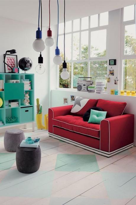 canapé convertible rouge salon moderne coloré turquoise blanc
