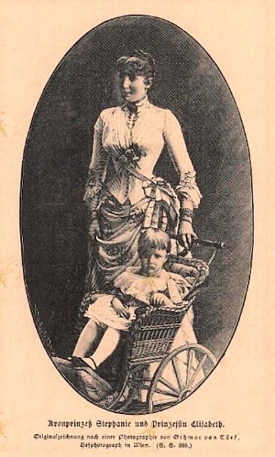La princesse héritière Stéphanie et la princesse Elisabeth — Un desssin de 1885.