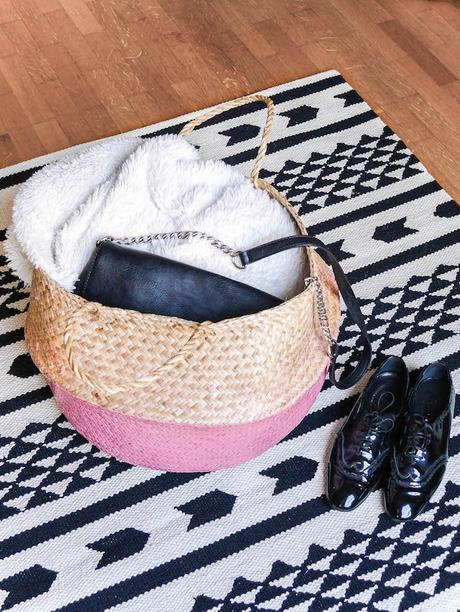 tendance rose poudre blush panier tapis parquet diy tuto