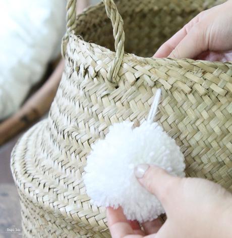 décoration intérieure fait maison pelote blanche panier osier
