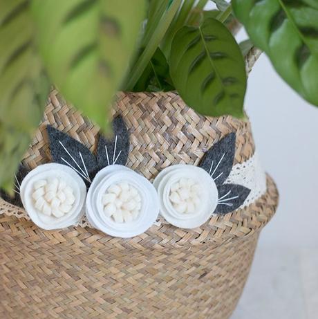 panier champêtre fleurs feuille feutrine ruban dentelle blanc