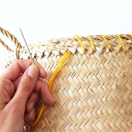 laine jaune orange panier de rangement rond DIY fait maison