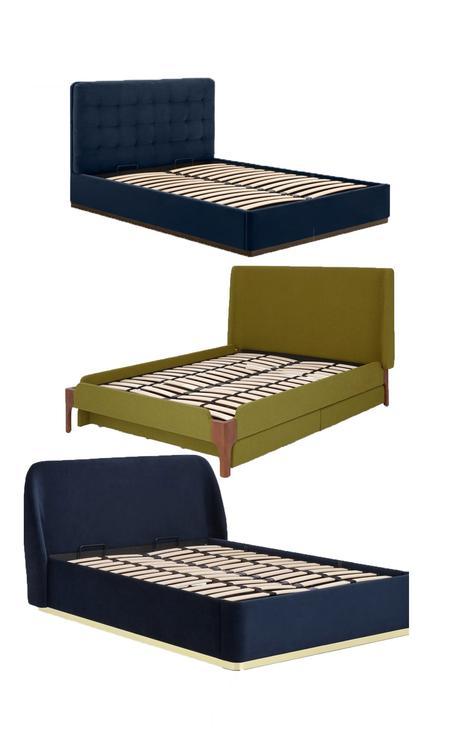 cadre de lit velours tête bleu marine pied doré laiton