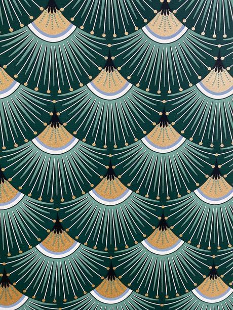 papier-peint art déco noir vert émeraude doré éventail