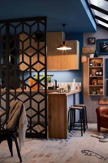 cloison noir originale séparation pièce salon origami deco