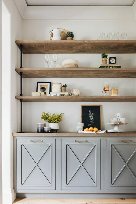 étagère ouverte bois rangement placard gris - blog déco clem around the corner