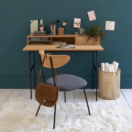 espace travail chambre enfant ado déco mur vert foncé canard