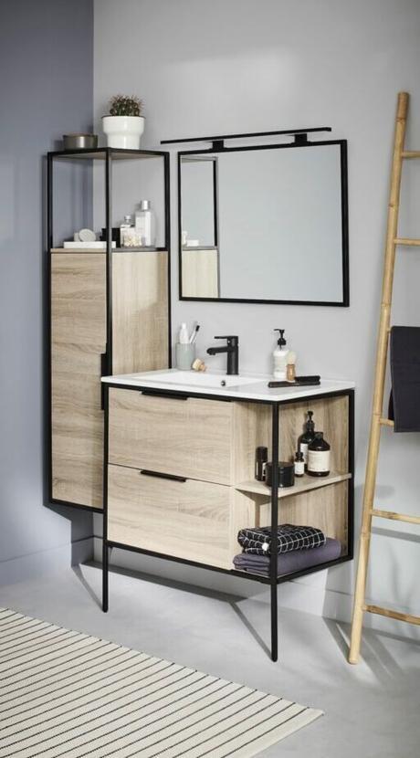 salle de bain carrelage effet ardoise noire meuble suspendu bois chêne massif