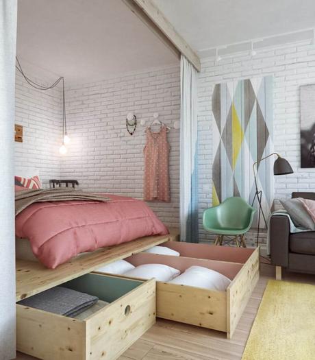 lit double rangement bois mur briques blanches ampoule en suspension