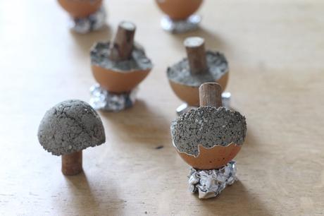 champignons béton bricolage automne déco fait-maison