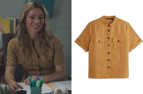 DEMAIN NOUS APPARTIENT : la chemise  rayée brun clair d'Anna dans l'épisode 1035